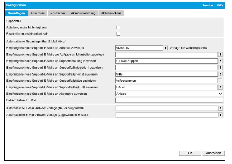 Automail: Mit wenigen Klicks lässt sich festlegen, wie das Programm mit neuen Supportvorgängen umgehen soll. (Quelle: Myfactory)