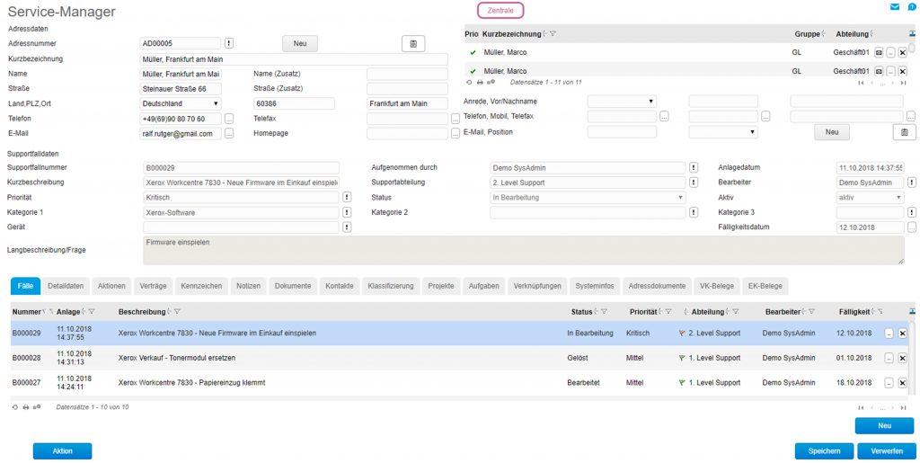 Der Service-Manager im Einsatz: Alle Aufgaben in einem Ticket transparent gebündelt – mit allen Informationen zu Status, Priorität und Berater. (Quelle: Myfactory)
